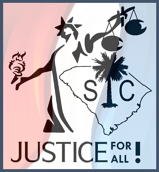 "Standing Together for Justice —SC logo with the tagline, ""Justice for all!"""
