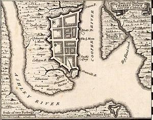 Charleston in 1733, map by Herman Moll